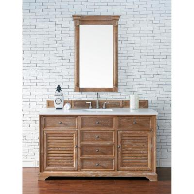 Savannah 60 in. Single Bath Vanity in Driftwood with Quartz Vanity Top in Classic White with White Basin
