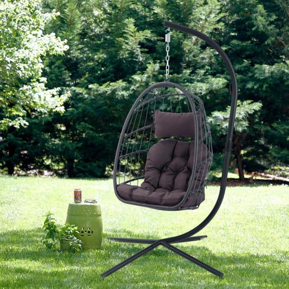 Black Wicker Aluminum Patio Swing