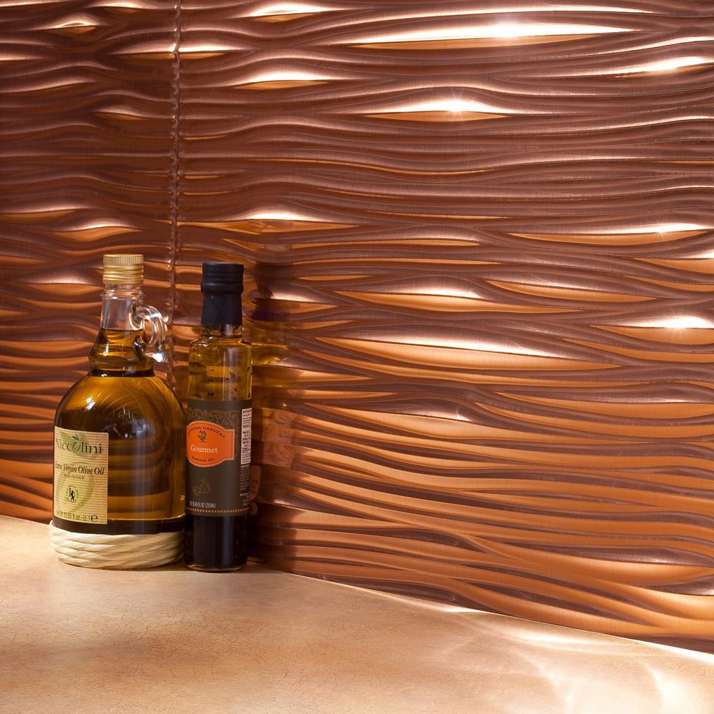 Waves 18 in. x 24 in. Polished Copper Vinyl Decorative Wall Tile Backsplash 18 sq. ft. Kit
