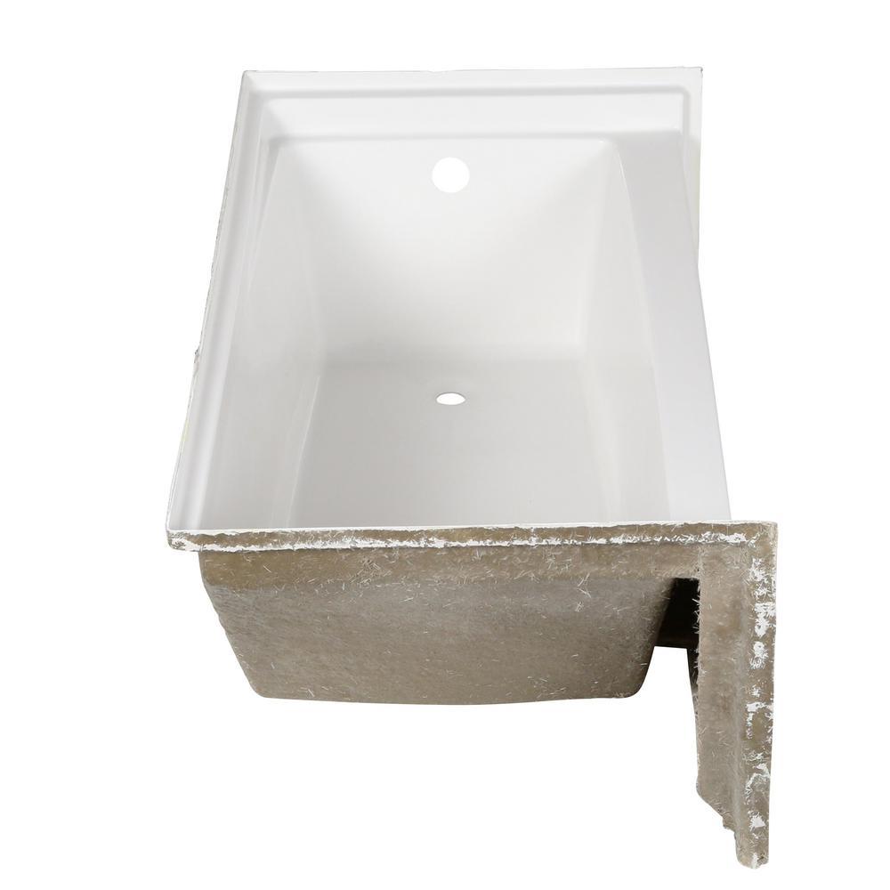 Capistrano 60 in. AcrylX Acrylic-Finished Right Drain Rectangular Alcove Soaking Bathtub in White