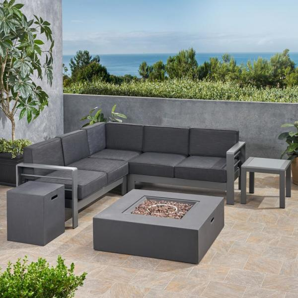 Noble House Cape Coral Grey 6-Piece Aluminum Patio Fire