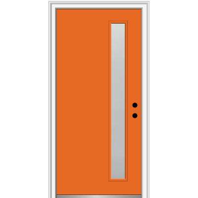 32 in. x 80 in. Viola Left-Hand Inswing 1-Lite Frosted Glass Painted Steel Prehung Front Door on 4-9/16 in. Frame