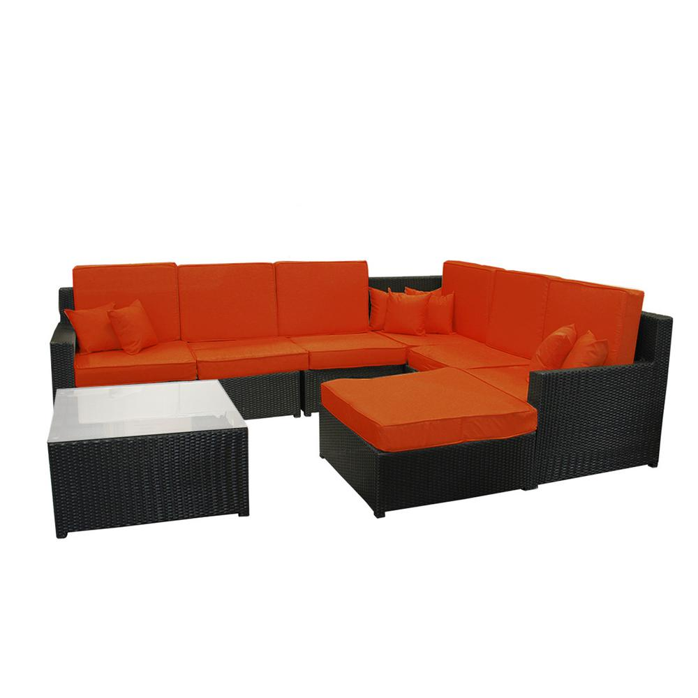 CC Outdoor Living 34.75 in. Black 8-Piece Resin Wicker Outdoor Furniture  Sectional Sofa Table and Ottoman Set with Orange Cushions