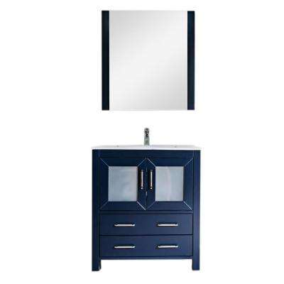 Newport 30 in. W x 18 in. D Bath Vanity in Navy with Ceramic Vanity Top in White with White Basin and Mirror