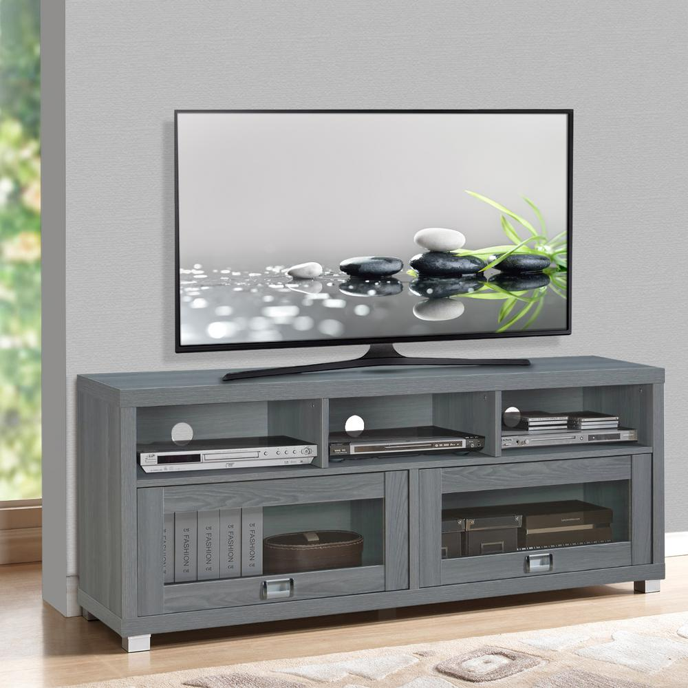 Techni Mobili 60 In Grey Durbin Tv Stand Rta 8850 Gry The Home Depot