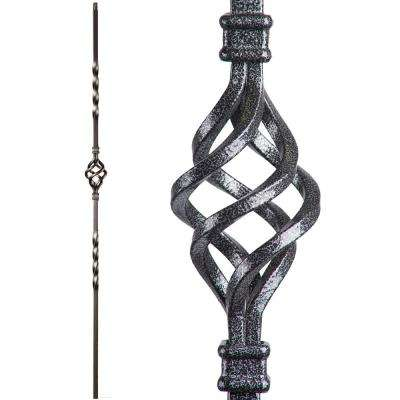 Twist and Basket 44 in. x 0.5 in. Silver Vein Single Basket Hollow Wrought Iron Baluster
