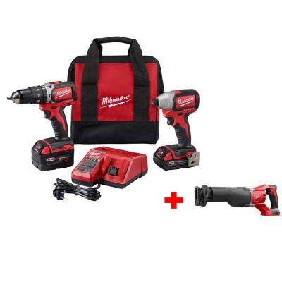 M18 18-Volt Lithium-Ion Brushless Cordless Compact Hammer Drill/Impact Combo Kit with M18 SAWZALL Reciprocating Saw