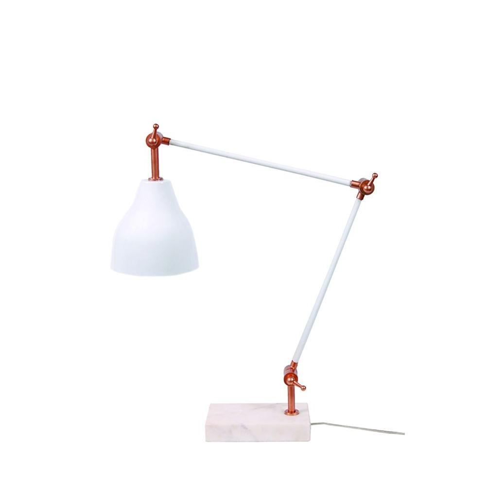 Glossy White And Copper Desk Lamp