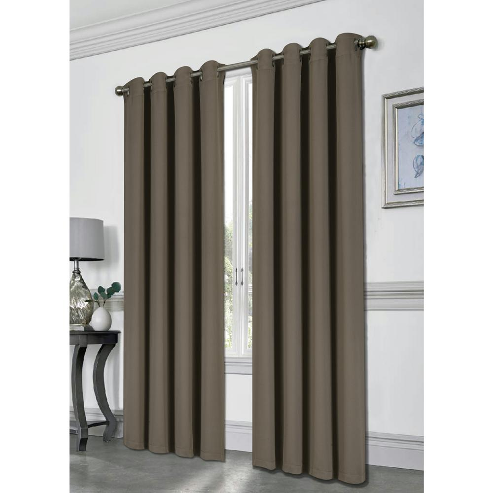 Kashi Home Tessa 54 in. x 84 in. Grommet Blackout Panel in Taupe