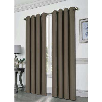 Tessa 54 in. x 84 in. Grommet Blackout Panel in Taupe
