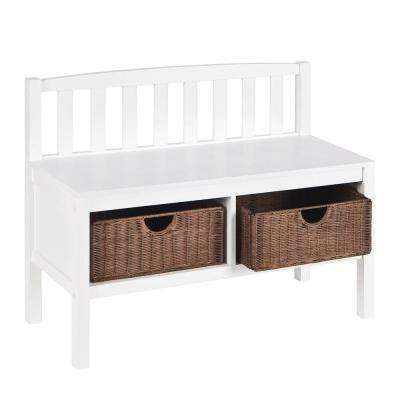 Westville White Storage Bench