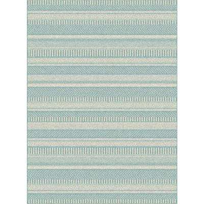 Piazza Blue 8 ft. x 11 ft. Indoor/Outdoor Area Rug