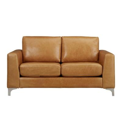 Russel 66 in. Caramel Faux Leather 2-Seater Loveseat with Removable Cushions
