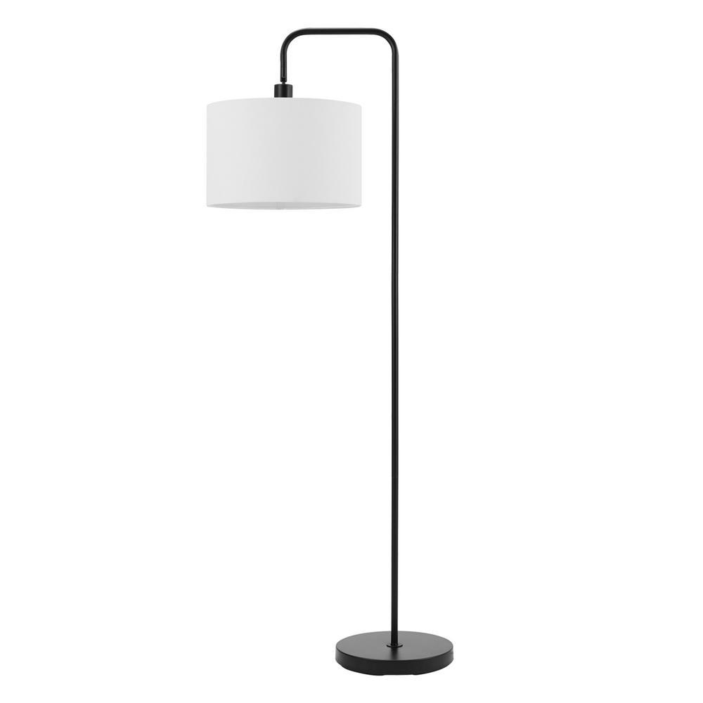 Matte Black Floor Lamp With White Linen Shade