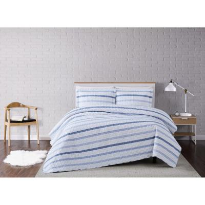Waffle 3-Piece White/Blue Stripe Full/Queen Quilt Set
