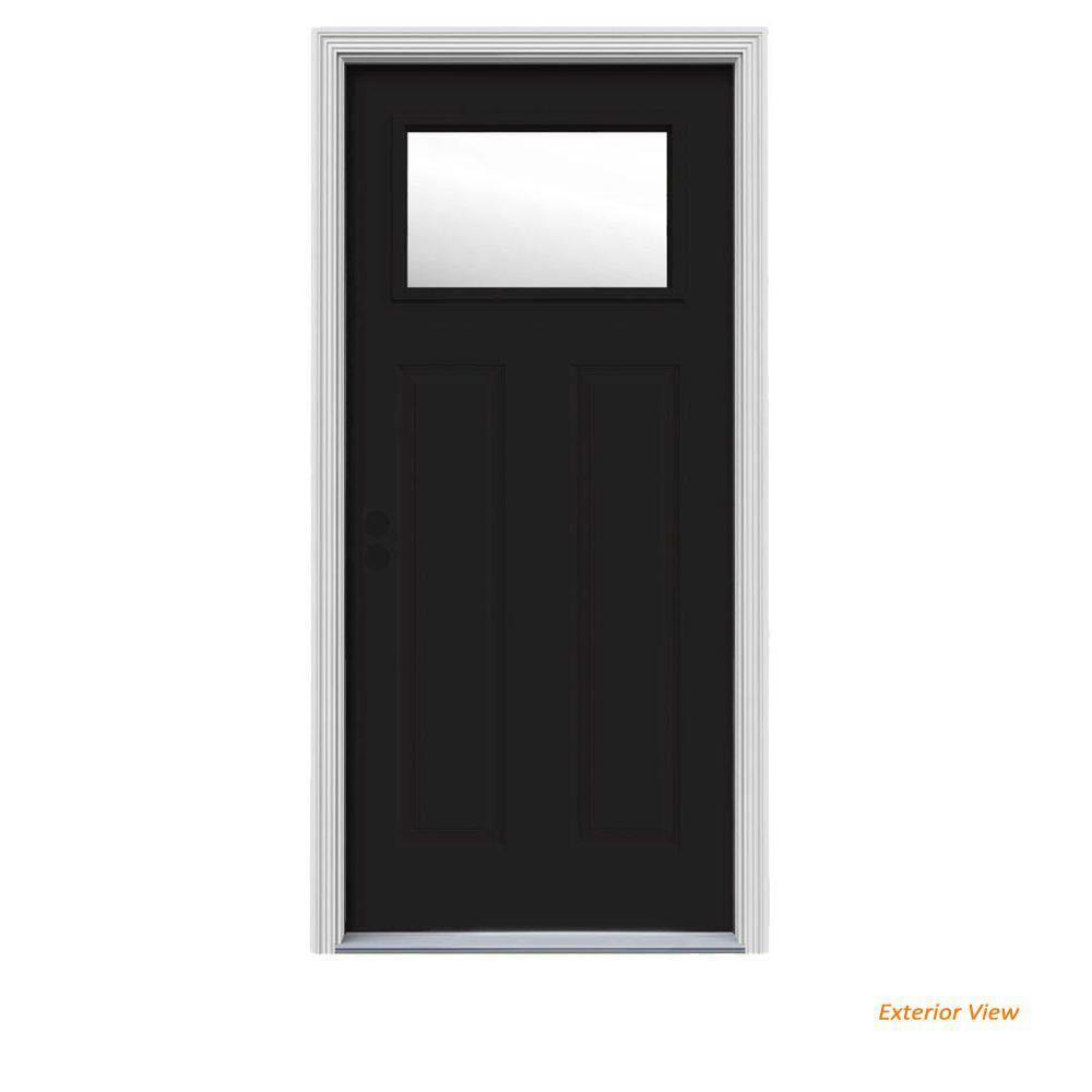 34 in. x 80 in. 1 Lite Craftsman Black Painted Steel Prehung Right-Hand Inswing Front Door w/Brickmould