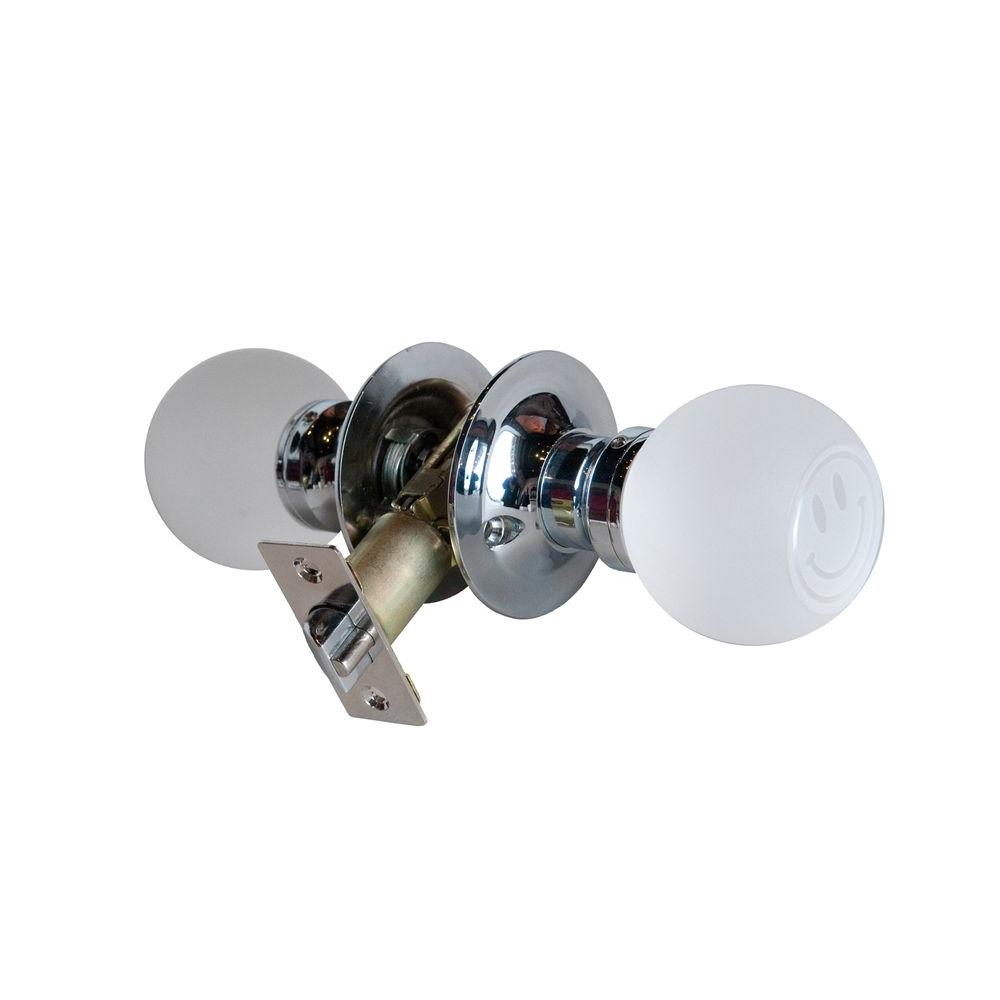 Krystal Touch of NY Smiley Face Crystal Chrome Passive Door Knob with LED Mixing Lighting Touch Activated