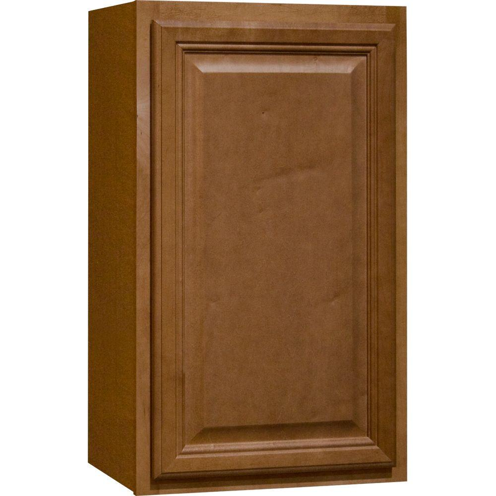 Hampton Bay Cambria Assembled 18x30x12 In Wall Kitchen Cabinet In Harvest Kw1830 Chr The Home