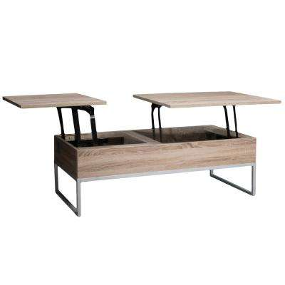 Saele Dark Sonoma Lift Top Storage Coffee Table