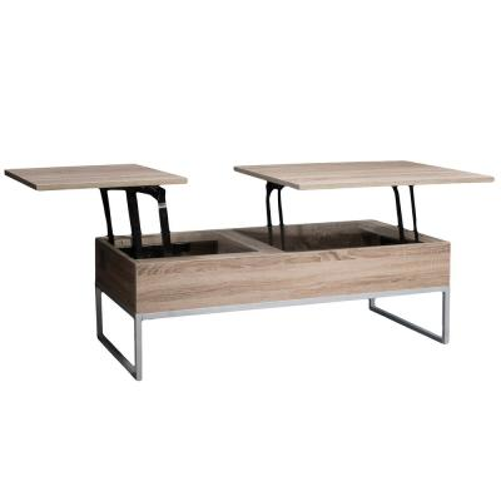 Saele Dark Sonoma Lift Top Storage Coffee Table