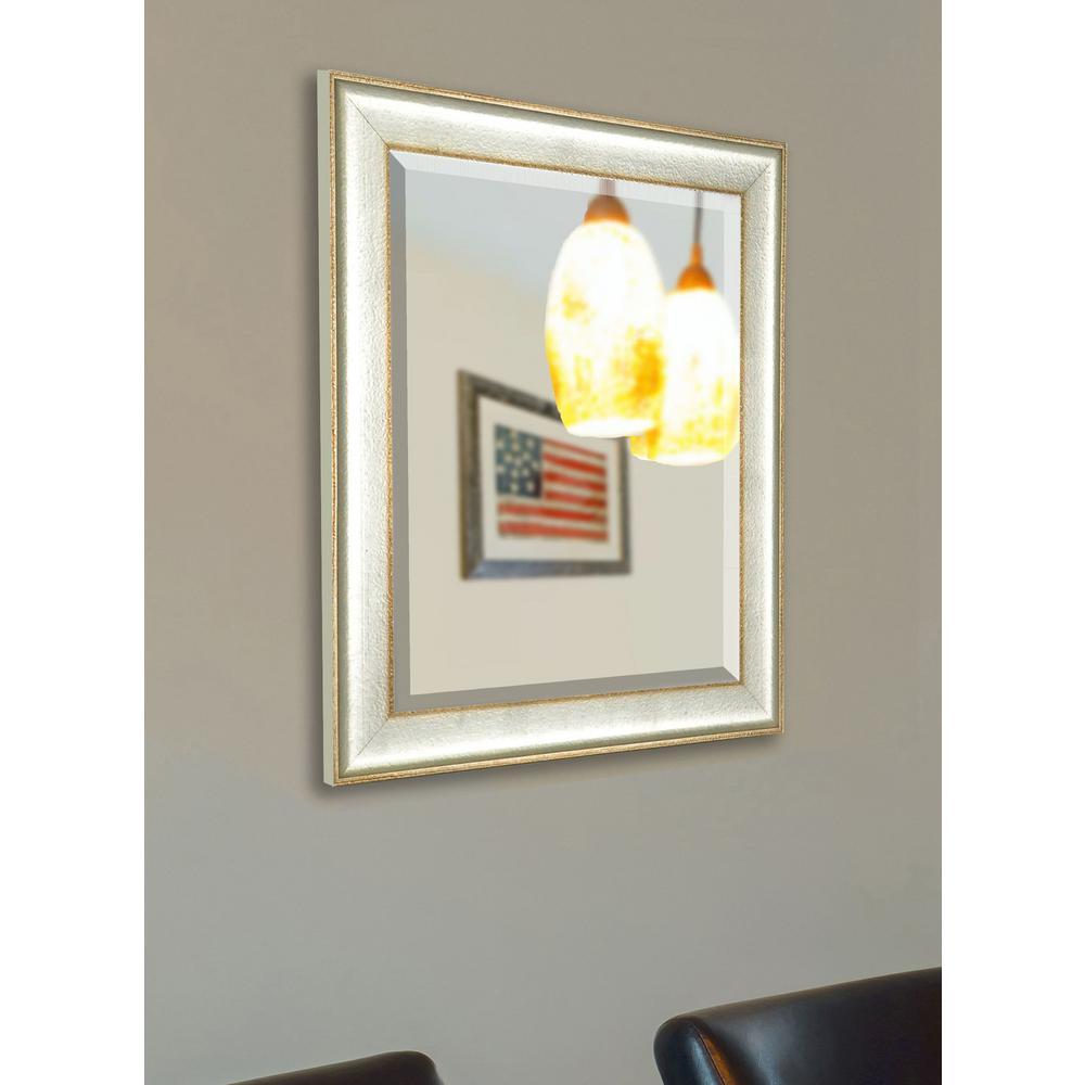 24 inch x 20 inch Vintage Silver Beveled Vanity Mirror by
