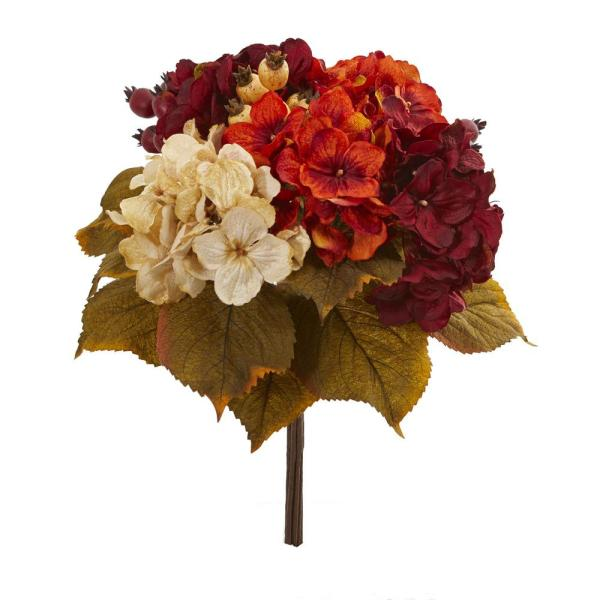 Nearly Natural Indoor 16 In Autumn Hydrangea Berry Bouquet
