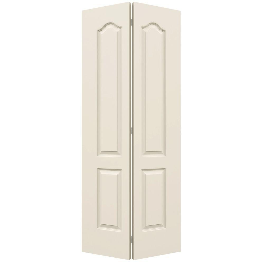 JELD-WEN 36 in. x 80 in. Princeton Vanilla Painted Smooth Molded Composite MDF Closet Bi-fold Door