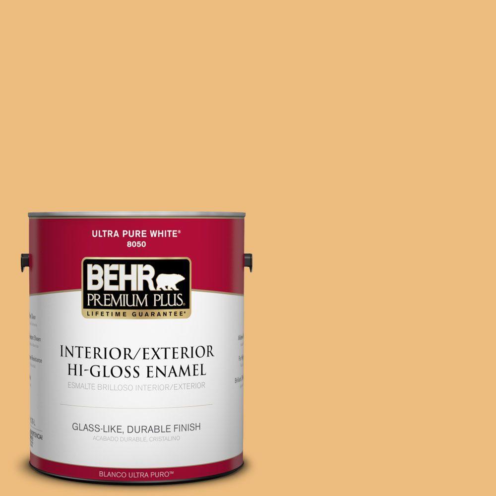 BEHR Premium Plus 1-gal. #310D-4 Gold Buff Hi-Gloss Enamel Interior/Exterior Paint