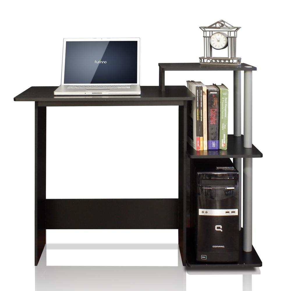 Furinno Efficient Black And Grey Home Computer Desk With Shelves