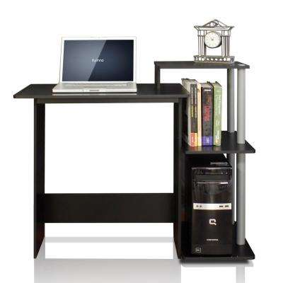 efficient black and grey home computer desk with shelves