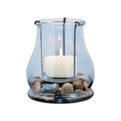 Caspian 7 in. Rustic Iron and Denim Glass Hurricane Candle Holder