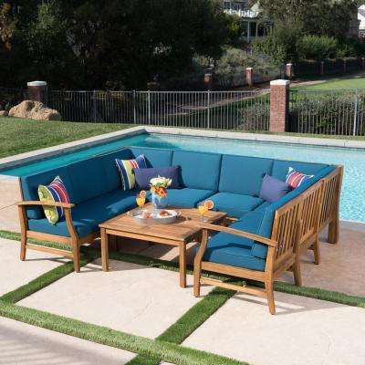 Giancarlo Teak 9-Piece Wood Outdoor Sectional Set with Blue Cushions