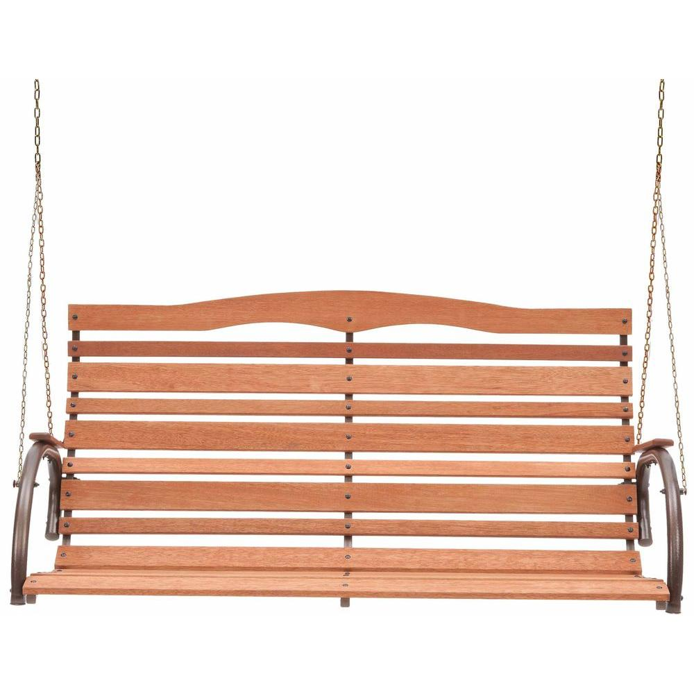 Country Garden Natural Wood High Back Patio Swing Seat