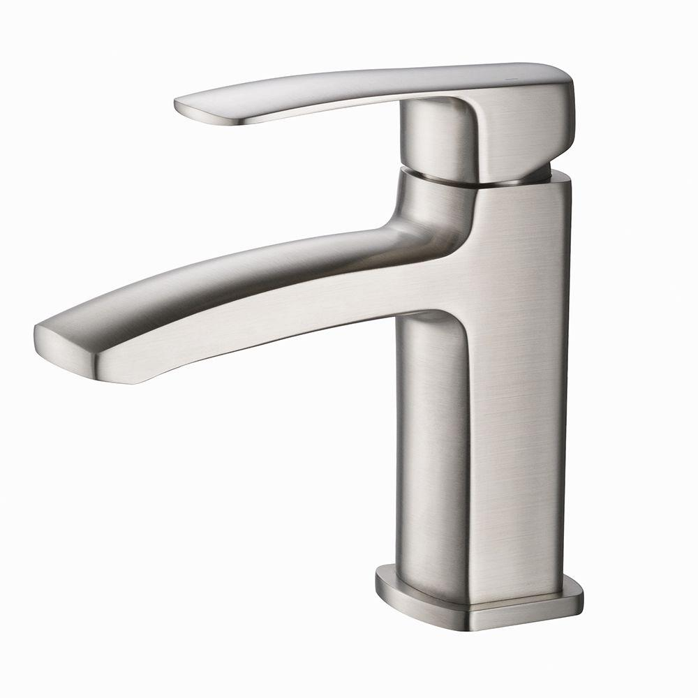 Fiora Single Hole Handle Low Arc Bathroom Faucet In Brushed Nickel