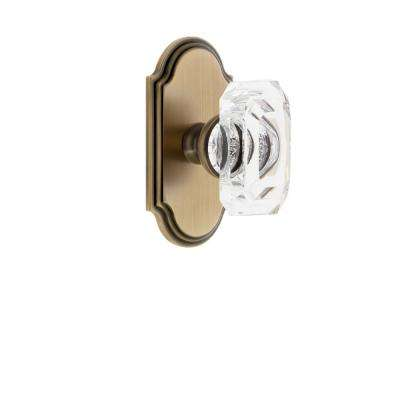 Arc Plate 2-3/8 in. Backset Vintage Brass Privacy Bed/Bath with Baguette Crystal Door Knob