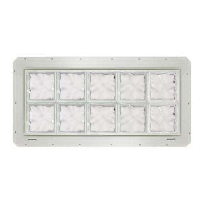 39.25 in. x 16.75 in. x 3.25 in. Wave Pattern Glass Block Window with White Vinyl Nailing Fin