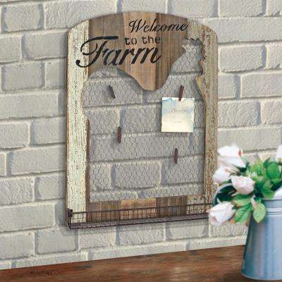 18 in. x 24 in. Brown Wooden Rooster Wall Decor with Metal Tray Mesh Message Board