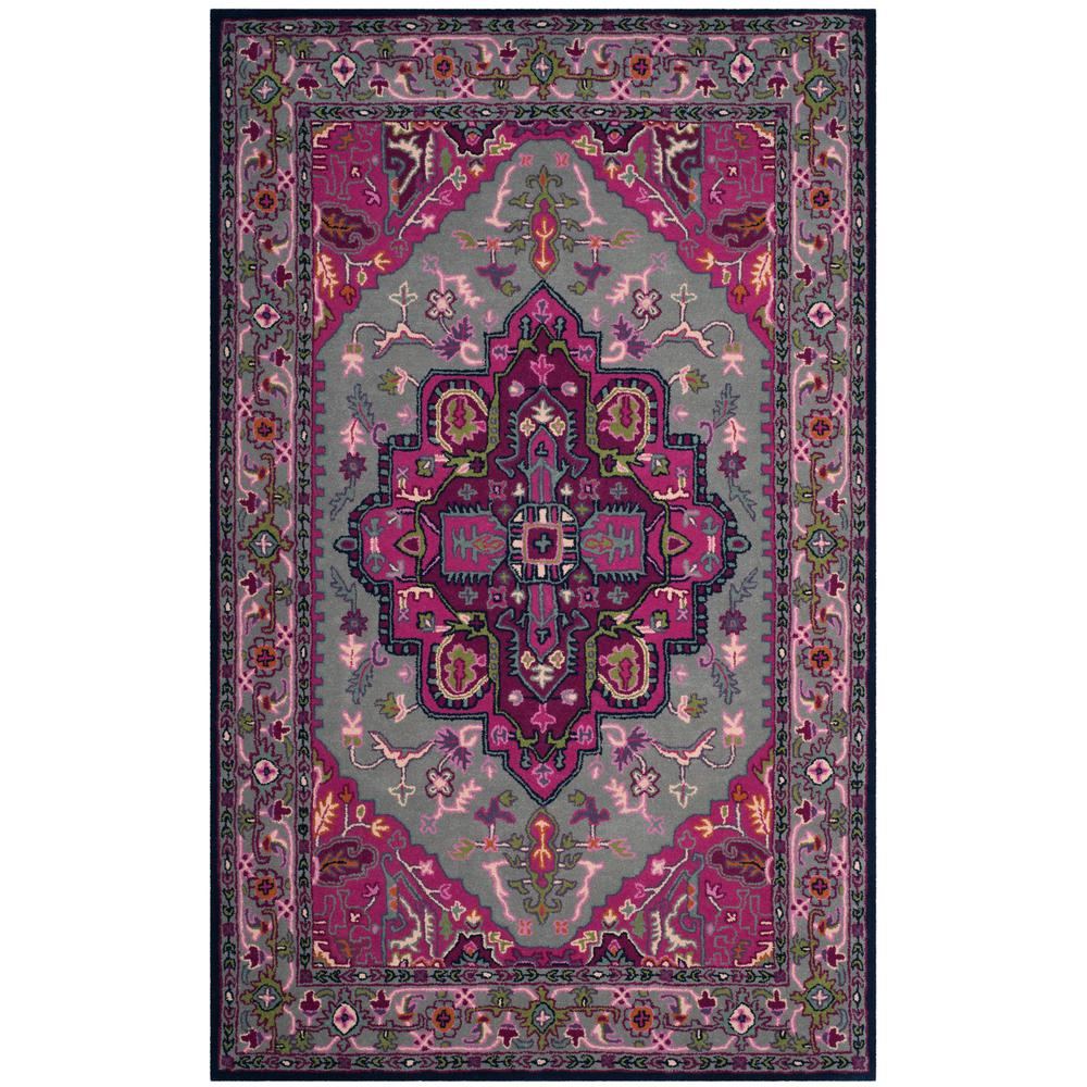 safavieh bellagio gray pink 5 ft x 8 ft area rug blg541b 5 the home depot. Black Bedroom Furniture Sets. Home Design Ideas