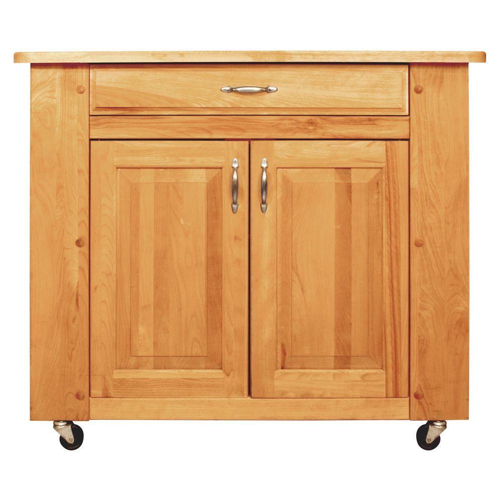Shop Catskill Craftsmen Natural Hardwood Oiled Finish: Catskill Craftsmen Natural Kitchen Cart With Storage-64024