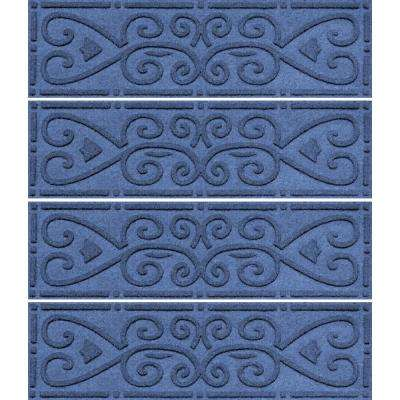 Navy 8.5 in. x 30 in. Scroll Stair Tread Cover (Set of 4)