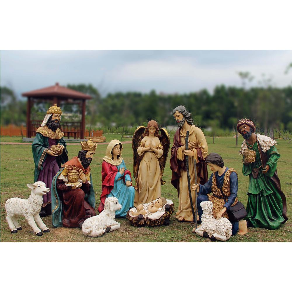 Christmas Nativity Set Outdoor.56 In Outdoor Nativity Set With Creche 12 Piece