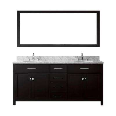 Caroline 72 in. W Bath Vanity in Espresso with Marble Vanity Top in White with Round Basin and Mirror