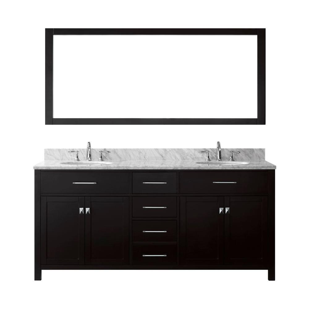 Virtu USA Caroline 72 in. W x 36 in. H Vanity with Marble Vanity Top in Carrara White with White Round Basin and Mirror