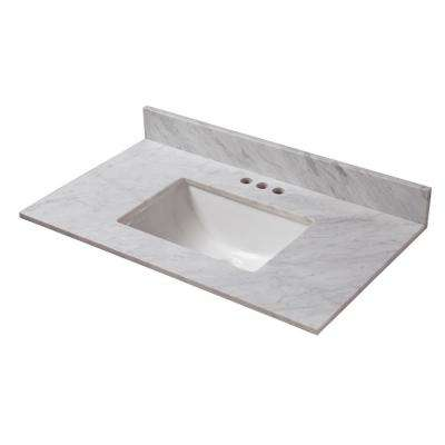 37 in. W x 19 in. D Marble Vanity Top in Carrara with White Trough Basin