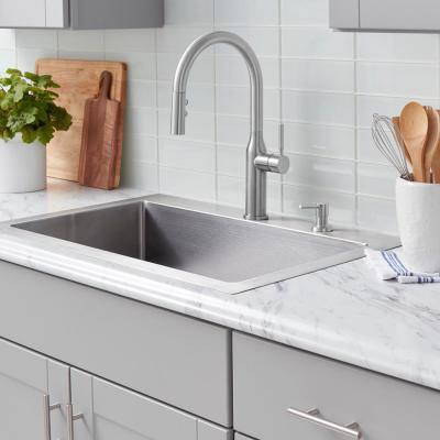 Upson Single-Handle Touchless Pull-Down Kitchen Faucet with TurboSpray and FastMount and Soap Dispenser in Stainless