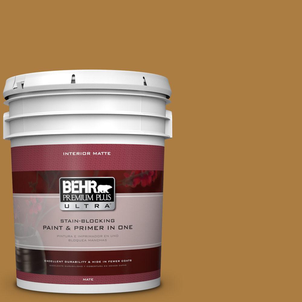 BEHR Premium Plus Ultra 5 gal. #300D-6 Medieval Gold Flat/Matte Interior Paint