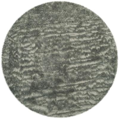 Faux Sheep Skin Grey 6 ft. x 6 ft. Round Area Rug