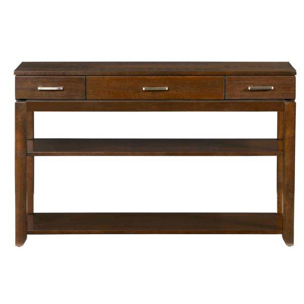 Daytona Regal 48 in. Walnut Standard Rectangle Wood Console Table with Drawers