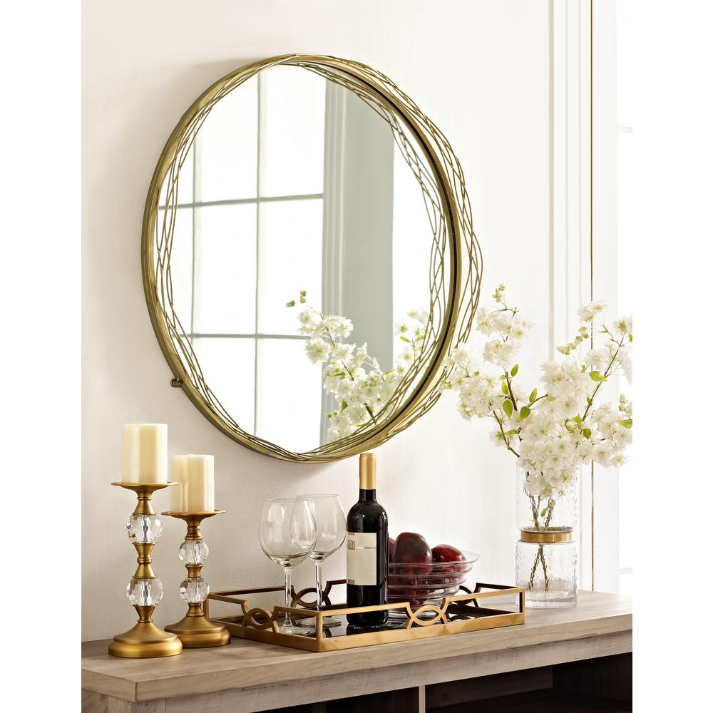 Walker Edison Furniture Company 32 in. Round Mirror with Gold Wire ...