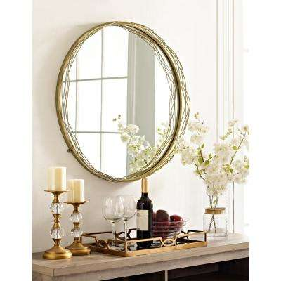 32 in. Round Mirror with Gold Wire Nest Frame